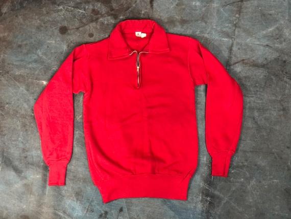 S Deadstock 50s Cotton Red Quarter Sip Sweatshirt