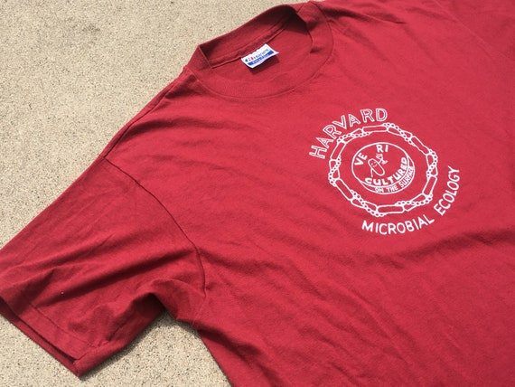 80s Maroon Harvard Microbial Ecology T-Shirt, Med… - image 4