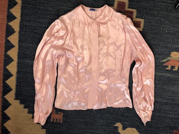 Rare 30s Pink Liquid Silk Long Sleeve Blouse, Popp