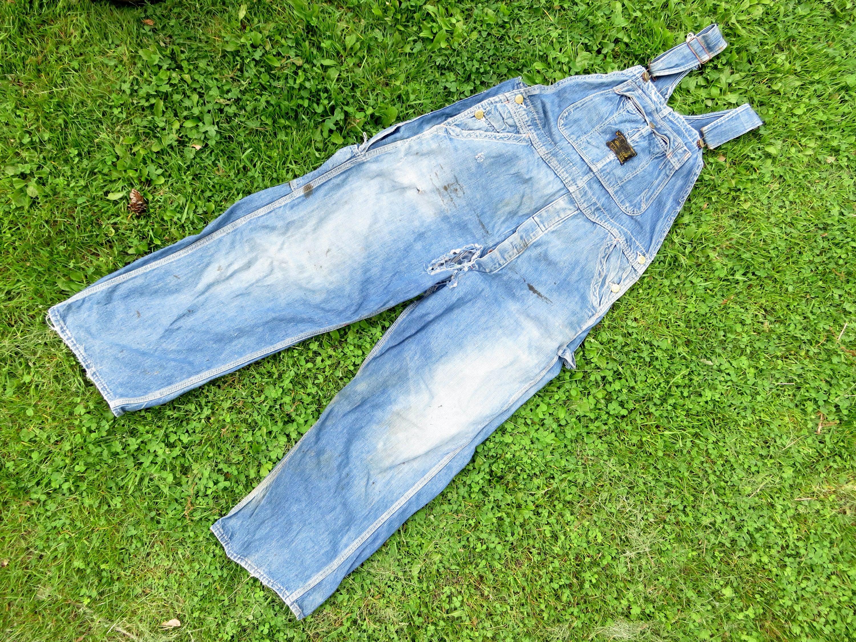 Vintage Overalls & Jumpsuits M L 60S Old Kentucky Denim Bib Overalls Cotton Thrashed Faded Farm Workwear Coverall Jumpsuit Tuff Nut Sanforized 1960S 50S 1950S $0.00 AT vintagedancer.com