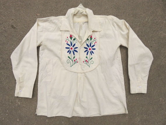 40s Hungarian Folk Hand Embroidered Pullover Top … - image 1