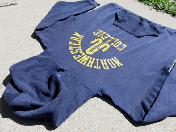 L 70s Northwestern College Hoodie Navy Blue Hoode… - image 2
