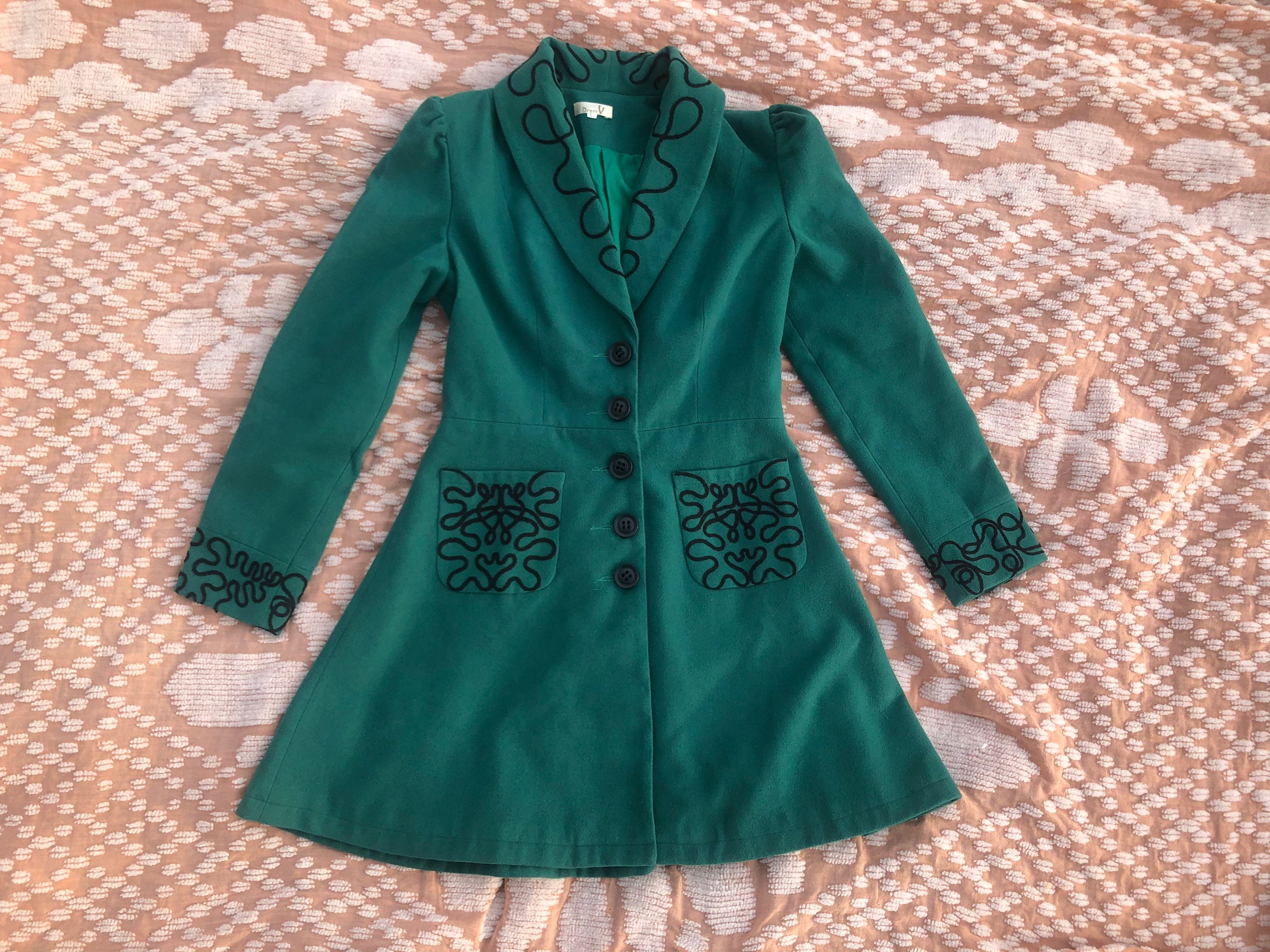 80s Dresses   Casual to Party Dresses 80S Emerald Green Peplum Jacket Puff Shoulders, Embroidered Felt Coat, Fitted Blazer Tailored Fit  Flare With Embroidery 1980S 90S 1990S $0.00 AT vintagedancer.com