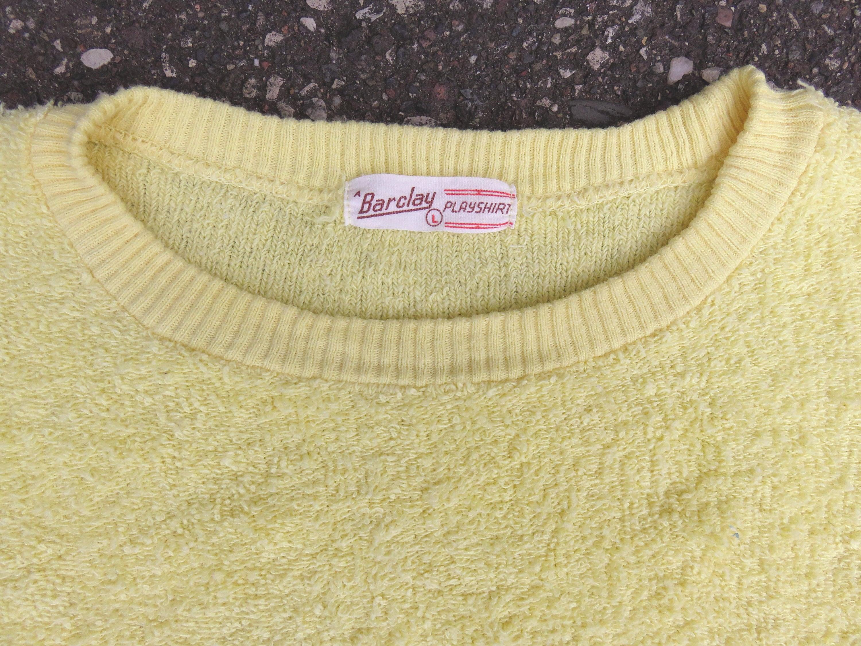 1950s Mens Hats | 50s Vintage Men's Hats S M 50S Yellow Terry Cloth Barclay Playshirt Towel Play Shirt Mens Top Beach Sportwear 1950S $62.00 AT vintagedancer.com