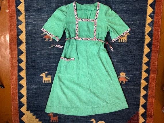 1940s Apple Green ABC Puff Shoulder Dress, Teacher