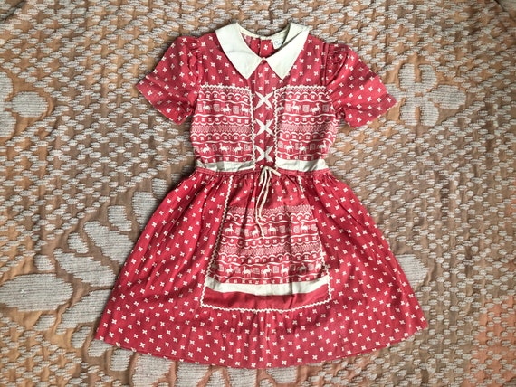 40s Girls Pink & White Cotton Dress Puff Shoulders