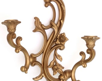A Touch of Romance - Vintage Gold Floral Double Candle Wall Sconce, Dart Ind. 3931