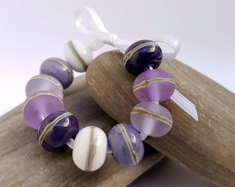Ultra Violet Lampwork Glass Bead Set, Purple, Lilac, Lavender, Violet, Bracelet Beads, Earring Beads, Jewellery, jewelry