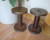 Vintage large industrial spool wood and metal, industrial spool, exlarge wood and metal spool, industrial wood spool, sewing room decor