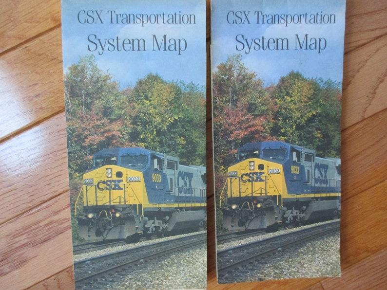 1990s Vintage CSX Transportation System Map Colorful Retro US Map Dated,  CSX map, railroad map, Csx railroad map