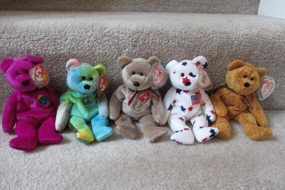 ccc38943fff set of 5 Vintage Ty Beanie Baby bears Millenium Peace Ty Glory