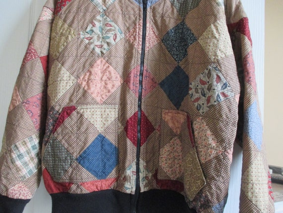 Vintage patchwork bomber style quilted jacket, fal