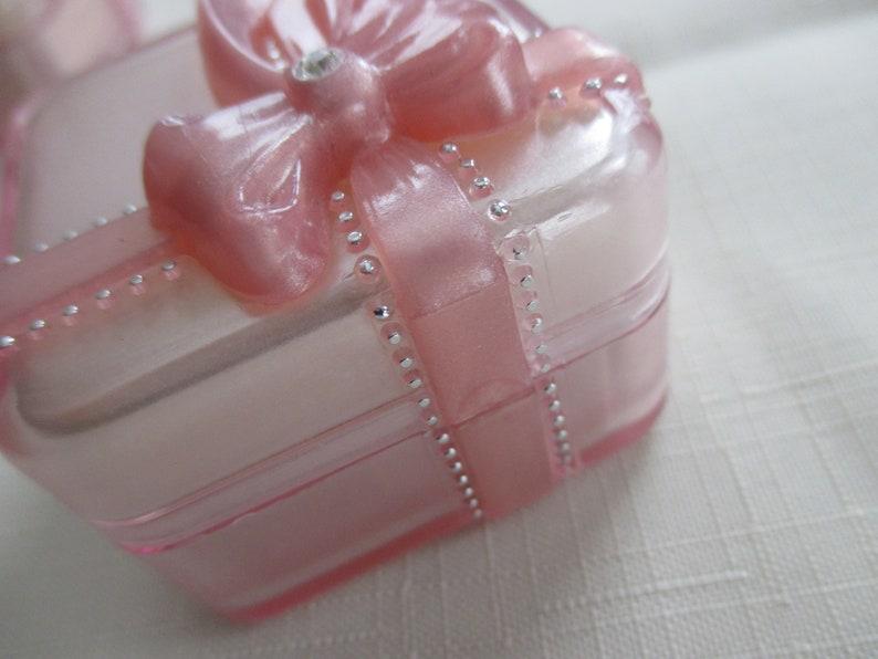 Vintage Pretty Pink ribbon and rhinestone acrylic jewelry trinket ring earring box by J pink jewelry box C ribbon and rhinestone box M.