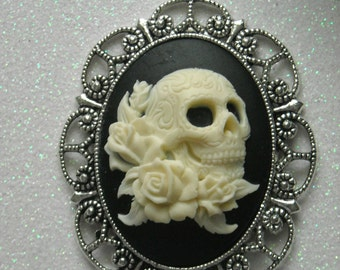 Ivory Color Day of the Dead Skull With Roses Antique Silver Brooch