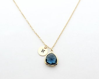Sapphire Birthstone Initial Necklace, September Birthstone, Personalized Necklace, Bridesmaid Gift, Initial Necklace, Bridesmaid Jewelry