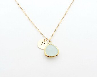 Aquamarine Gold Initial Bridesmaid Necklace, March Birthstone Necklace, Bridesmaid Gift, Personalized Necklace, Bridesmaid Jewelry