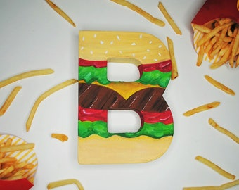 Burger Handpainted Alphabet Letters | Burger Babe | Multicolored | Perfect for Room Decor and Themed Parties