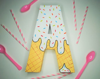 Ice Cream Handpainted Alphabet Letters | We All Scream For Ice Cream | White & Yellow | Perfect for Room Decor and Themed Parties