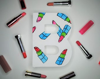 Makeup Handpainted Alphabet Letters | Lipstick Lover | Multicolored | Perfect for Room Decor and Themed Parties