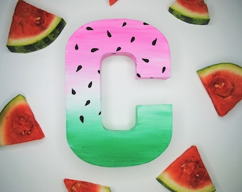 Watermelon Handpainted Alphabet Letters | Whimsy Watermelon | Pink & Green | Perfect for Room Decor and Themed Parties