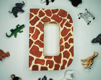 Giraffe Animal Handpainted Alphabet Letters | Giraffic Park | Brown & Yellow | Perfect for Room Decor and Themed Parties