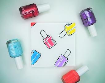 Nail Polish Drink Coaster | Nailed It | Handpainted | Multicolored | Makes a Great Gift