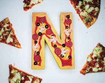 Pizza Handpainted Alphabet Letters | Perfect Pizza | Red & Yellow | Perfect for Room Decor and Themed Parties