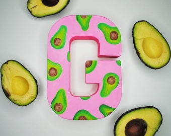 Avocado Handpainted Alphabet Letters | Amazing Avocado | Pink & Green | Perfect for Room Decor and Themed Parties