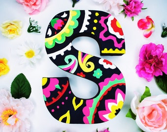 Floral Paisley Handpainted Alphabet Letters | Paisley Paradise | Multicolored | Perfect for Room Decor and Themed Parties