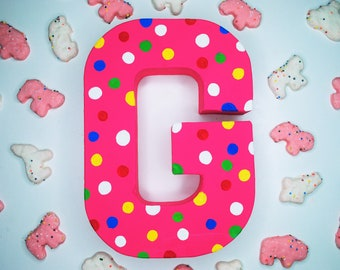 Frosted Animal Cracker Handpainted Alphabet Letters | Crazy For Crackers | Pink | Perfect for Room Decor and Themed Parties