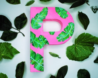 Banana Leaf Handpainted Alphabet Letters | Let's Get Tropical | Multicolored | Perfect for Room Decor and Themed Parties