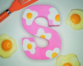 Fried Egg Handpainted Alphabet Letters | Sunny Side Up | Pink & Yellow | Perfect for Room Decor and Themed Parties