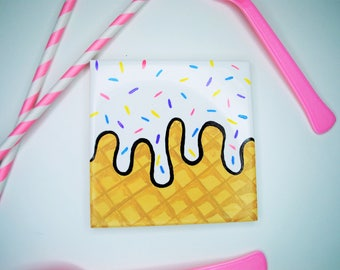 Ice Cream Drink Coaster | Sweet Tooth | Handpainted | Multicolored | Makes a Great Gift