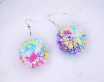 Yarn Pom Pom Drop Earrings | The Sunrise Pom Pom Earrings | Multicolor | Handmade