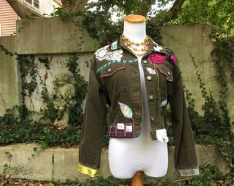 Refashioned Clothing - Upcycled Jean Jacket - Hippie Clothes Women - Recycled Clothes - Small