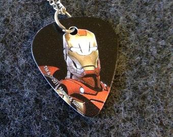 Necklace - Guitar Pick - Iron Man