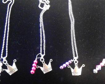 Necklace - Princess Crown, silver tone