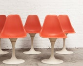 4 Burke Dining Chairs - Swivel Tulip Chairs Mid Century
