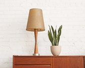 Oak + Fiberglass Mid Century Table Lamp