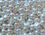 Size 6 0 Pony or E Bead OPAQUE SILVER METALLIC Preciosa Czech Glass Seed Beads-4mm Round Rocailles-20grams-Spacers-Kumihimo Jewelry Supplies