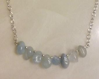 Blue Aquamarine Nugget Necklace