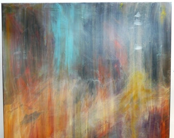Large Painting on wood panel - Outer Space painting - Nebula Original Abstract Acrylic Painting on wood. Wooden artwork