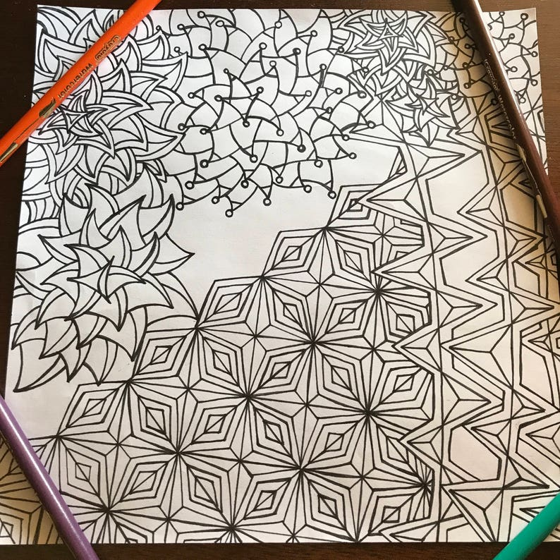 Adult Coloring Page Zentangle Doodle Art Coloring Etsy