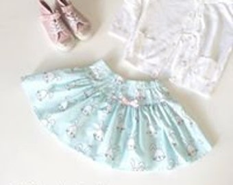 ON SALE - Twirly Skirt - Sweet Mint Green Bunny Rabbits