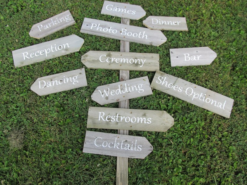 Directional Wedding Signs on a stake build your own image 0