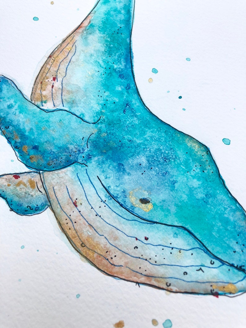 Original Watercolor Whale Painting