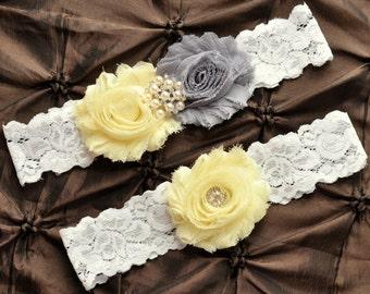 Wedding Garter Belt, Bridal Garter Set - Lace Garter, Keepsake Garter, Toss Garter, Shabby Gray Light Yellow Wedding Garter, You Pick Colors