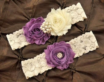 Grape Wedding Garter, Bridal Garter Set - Ivory Lace Garter, Keepsake Garter, Toss Garter, Shabby Chiffon Grape & Ivory Wedding Garter