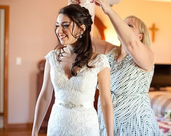 EMMA Crystal and Pearl Wedding Belt, Wedding Sash, Bridal Belt, Bridal Sash, Dress Belt, Bridesmaid Belt, Ivory Belt, Custom Colors
