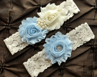 Wedding Garter Belt, Bridal Garter Set - Ivory Lace Garter, Keepsake Garter, Baby Blue Wedding Garter, Light Blue Wedding Garter Set